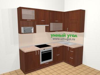 Угловая кухня МДФ матовый в классическом стиле 5,2 м², 240 на 120 см, Вишня темная, верхние модули 92 см, верхний модуль под свч, встроенный духовой шкаф