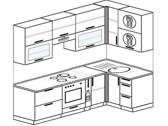 Угловая кухня 5,2 м² (2,4✕1,2 м), верхние модули 92 см, встроенный духовой шкаф