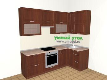 Угловая кухня МДФ матовый 5,2 м², 2400 на 1200 мм, Вишня темная, верхние модули 920 мм, встроенный духовой шкаф