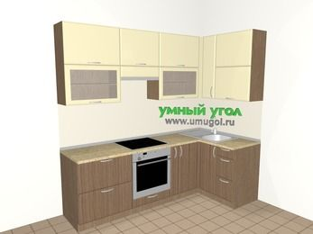 Угловая кухня МДФ матовый 5,2 м², 2400 на 1200 мм, Ваниль / Лиственница бронзовая, верхние модули 920 мм, встроенный духовой шкаф