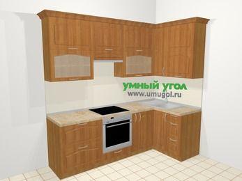 Угловая кухня МДФ матовый в классическом стиле 5,2 м², 240 на 120 см, Вишня, верхние модули 92 см, встроенный духовой шкаф