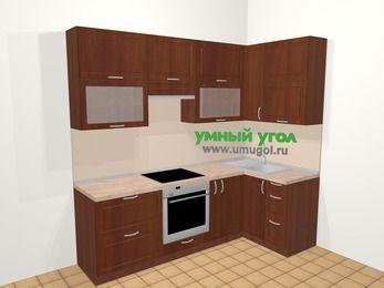 Угловая кухня МДФ матовый в классическом стиле 5,2 м², 240 на 120 см, Вишня темная, верхние модули 92 см, встроенный духовой шкаф