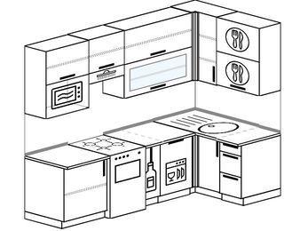 Угловая кухня 5,2 м² (2,4✕1,2 м), верхние модули 92 см, посудомоечная машина, верхний модуль под свч, отдельно стоящая плита