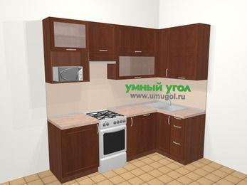 Угловая кухня МДФ матовый в классическом стиле 5,2 м², 240 на 120 см, Вишня темная, верхние модули 92 см, посудомоечная машина, верхний модуль под свч, отдельно стоящая плита