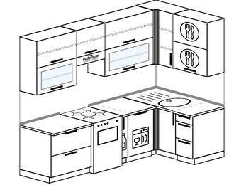 Угловая кухня 5,2 м² (2,4✕1,2 м), верхние модули 920 мм, посудомоечная машина, отдельно стоящая плита