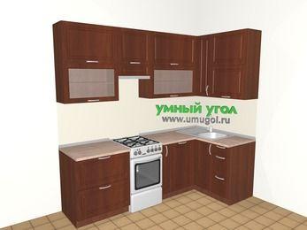 Угловая кухня МДФ матовый 5,2 м², 2400 на 1200 мм, Вишня темная, верхние модули 920 мм, посудомоечная машина, отдельно стоящая плита