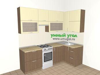 Угловая кухня МДФ матовый 5,2 м², 2400 на 1200 мм, Ваниль / Лиственница бронзовая, верхние модули 920 мм, посудомоечная машина, отдельно стоящая плита