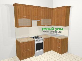 Угловая кухня МДФ матовый в классическом стиле 5,2 м², 240 на 120 см, Вишня, верхние модули 92 см, посудомоечная машина, отдельно стоящая плита