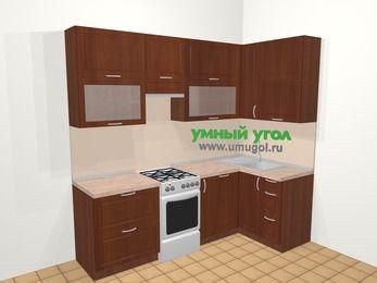 Угловая кухня МДФ матовый в классическом стиле 5,2 м², 240 на 120 см, Вишня темная, верхние модули 92 см, посудомоечная машина, отдельно стоящая плита