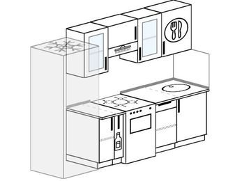 Прямая кухня 5,0 м² (2,4 м), верхние модули 72 см, холодильник, отдельно стоящая плита