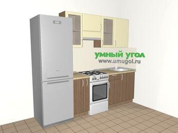 Прямая кухня МДФ матовый 5,0 м², 2400 мм, Ваниль / Лиственница бронзовая, верхние модули 720 мм, холодильник, отдельно стоящая плита