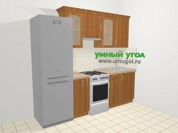 Прямая кухня МДФ матовый в классическом стиле 5,0 м², 240 см, Вишня, верхние модули 72 см, холодильник, отдельно стоящая плита