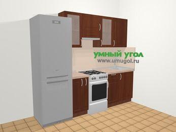 Прямая кухня МДФ матовый в классическом стиле 5,0 м², 240 см, Вишня темная, верхние модули 72 см, холодильник, отдельно стоящая плита