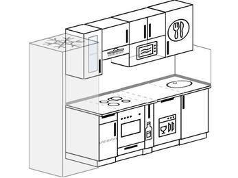 Прямая кухня 5,0 м² (2,4 м), верхние модули 72 см, посудомоечная машина, модуль под свч, встроенный духовой шкаф, холодильник