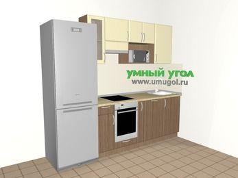 Прямая кухня МДФ матовый 5,0 м², 2400 мм, Ваниль / Лиственница бронзовая, верхние модули 720 мм, посудомоечная машина, модуль под свч, встроенный духовой шкаф, холодильник