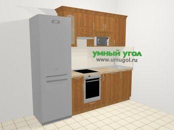 Прямая кухня МДФ матовый в классическом стиле 5,0 м², 240 см, Вишня, верхние модули 72 см, посудомоечная машина, модуль под свч, встроенный духовой шкаф, холодильник