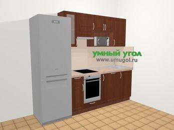 Прямая кухня МДФ матовый в классическом стиле 5,0 м², 240 см, Вишня темная, верхние модули 72 см, посудомоечная машина, модуль под свч, встроенный духовой шкаф, холодильник