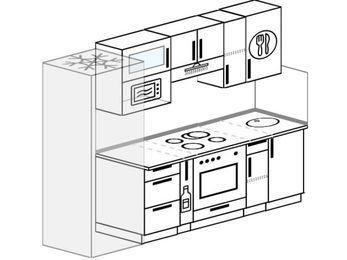 Прямая кухня 5,0 м² (2,4 м), верхние модули 72 см, верхний модуль под свч, встроенный духовой шкаф, холодильник