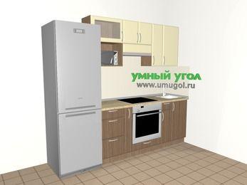 Прямая кухня МДФ матовый 5,0 м², 2400 мм, Ваниль / Лиственница бронзовая, верхние модули 720 мм, верхний модуль под свч, встроенный духовой шкаф, холодильник