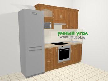 Прямая кухня МДФ матовый в классическом стиле 5,0 м², 240 см, Вишня, верхние модули 72 см, верхний модуль под свч, встроенный духовой шкаф, холодильник