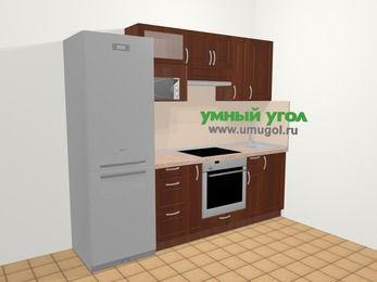 Прямая кухня МДФ матовый в классическом стиле 5,0 м², 240 см, Вишня темная, верхние модули 72 см, верхний модуль под свч, встроенный духовой шкаф, холодильник