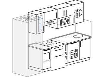 Планировка прямой кухни 5,0 м², 2400 мм: верхние модули 720 мм, холодильник, отдельно стоящая плита, корзина-бутылочница, посудомоечная машина, модуль под свч