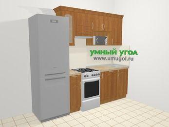 Прямая кухня МДФ матовый в классическом стиле 5,0 м², 240 см, Вишня, верхние модули 72 см, посудомоечная машина, модуль под свч, холодильник, отдельно стоящая плита