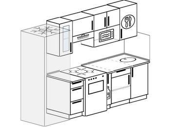Прямая кухня 5,0 м² (2,4 м), верхние модули 72 см, модуль под свч, холодильник, отдельно стоящая плита