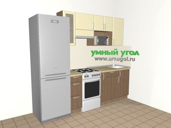 Прямая кухня МДФ матовый 5,0 м², 2400 мм, Ваниль / Лиственница бронзовая, верхние модули 720 мм, модуль под свч, холодильник, отдельно стоящая плита