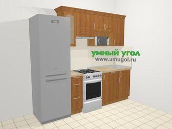 Прямая кухня МДФ матовый в классическом стиле 5,0 м², 240 см, Вишня, верхние модули 72 см, модуль под свч, холодильник, отдельно стоящая плита
