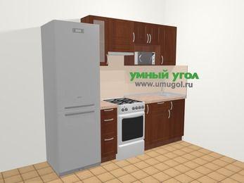 Прямая кухня МДФ матовый в классическом стиле 5,0 м², 240 см, Вишня темная, верхние модули 72 см, модуль под свч, холодильник, отдельно стоящая плита