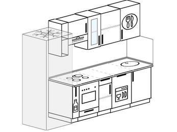 Планировка прямой кухни 5,0 м², 240 см: верхние модули 72 см, холодильник, корзина-бутылочница, встроенный духовой шкаф, посудомоечная машина