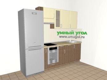 Прямая кухня МДФ матовый 5,0 м², 2400 мм, Ваниль / Лиственница бронзовая, верхние модули 720 мм, посудомоечная машина, встроенный духовой шкаф, холодильник