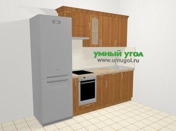 Прямая кухня МДФ матовый в классическом стиле 5,0 м², 240 см, Вишня, верхние модули 72 см, посудомоечная машина, встроенный духовой шкаф, холодильник