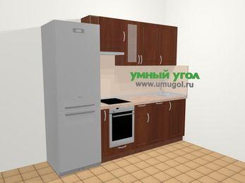 Прямая кухня МДФ матовый в классическом стиле 5,0 м², 240 см, Вишня темная, верхние модули 72 см, посудомоечная машина, встроенный духовой шкаф, холодильник