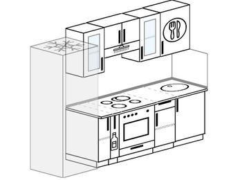 Прямая кухня 5,0 м² (2,4 м), верхние модули 72 см, встроенный духовой шкаф, холодильник