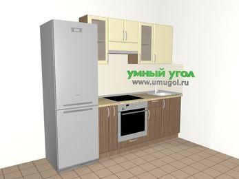 Прямая кухня МДФ матовый 5,0 м², 2400 мм, Ваниль / Лиственница бронзовая, верхние модули 720 мм, встроенный духовой шкаф, холодильник
