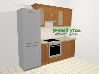 Прямая кухня МДФ матовый в классическом стиле 5,0 м², 240 см, Вишня, верхние модули 72 см, встроенный духовой шкаф, холодильник