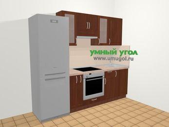 Прямая кухня МДФ матовый в классическом стиле 5,0 м², 240 см, Вишня темная, верхние модули 72 см, встроенный духовой шкаф, холодильник