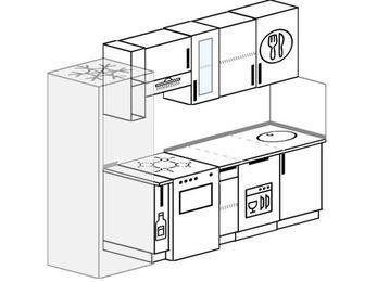 Прямая кухня 5,0 м² (2,4 м), верхние модули 72 см, посудомоечная машина, холодильник, отдельно стоящая плита