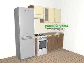 Прямая кухня МДФ матовый 5,0 м², 2400 мм, Ваниль / Лиственница бронзовая, верхние модули 720 мм, посудомоечная машина, холодильник, отдельно стоящая плита