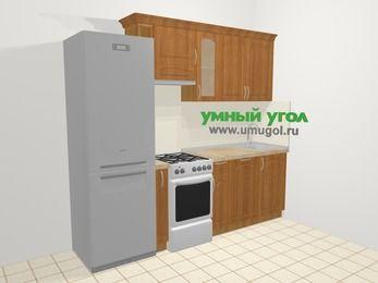 Прямая кухня МДФ матовый в классическом стиле 5,0 м², 240 см, Вишня, верхние модули 72 см, посудомоечная машина, холодильник, отдельно стоящая плита