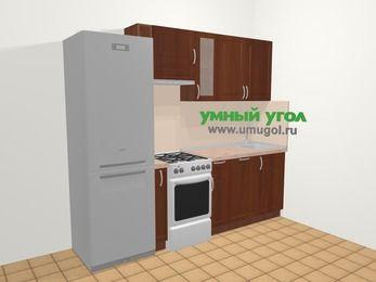 Прямая кухня МДФ матовый в классическом стиле 5,0 м², 240 см, Вишня темная, верхние модули 72 см, посудомоечная машина, холодильник, отдельно стоящая плита