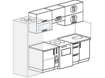 Планировка прямой кухни 5,0 м², 240 см: верхние модули 72 см, холодильник, корзина-бутылочница, отдельно стоящая плита