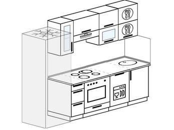 Планировка прямой кухни 5,0 м², 240 см: верхние модули 72 см, холодильник, встроенный духовой шкаф, посудомоечная машина
