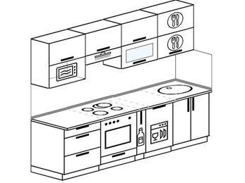 Прямая кухня 5,0 м² (2,4 м), верхние модули 72 см, посудомоечная машина, верхний модуль под свч, встроенный духовой шкаф