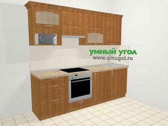 Прямая кухня МДФ матовый в классическом стиле 5,0 м², 240 см, Вишня, верхние модули 72 см, посудомоечная машина, верхний модуль под свч, встроенный духовой шкаф