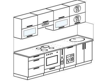 Планировка прямой кухни 5,0 м², 2400 мм: верхние модули 720 мм, встроенный духовой шкаф, корзина-бутылочница, посудомоечная машина