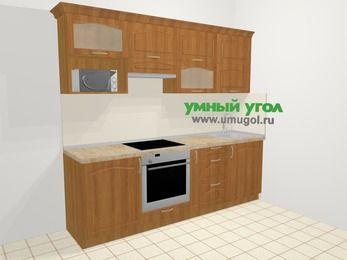 Прямая кухня МДФ матовый в классическом стиле 5,0 м², 240 см, Вишня, верхние модули 72 см, верхний модуль под свч, встроенный духовой шкаф