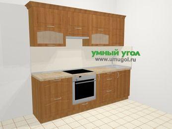 Прямая кухня МДФ матовый в классическом стиле 5,0 м², 240 см, Вишня, верхние модули 72 см, встроенный духовой шкаф